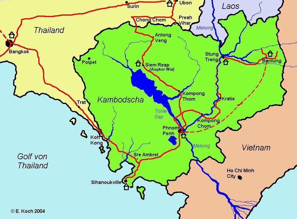 Kambodscha Karte.Kambodscha Karte
