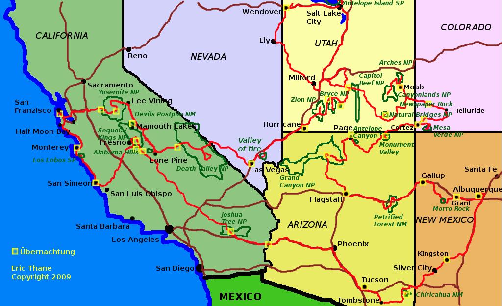 Karte Usa Westen.Usa West Karte 2009